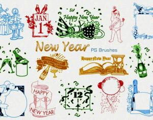 20 New Year Vintage PS Brushes abr. Vol.1 Photoshop brush