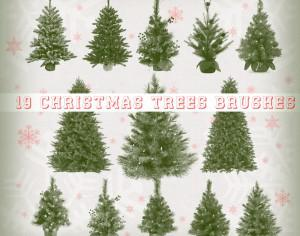 19 Christmas Trees Brushes Photoshop brush