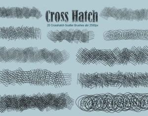 20 Crosshatch Scatter PS Brushes abr Photoshop brush
