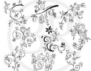 In Blossom - Hand drawn floral brushes Photoshop brush