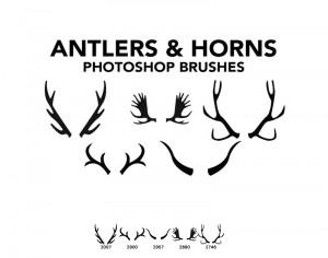 Antlers and Horns 5 Photoshop Brushes Photoshop brush