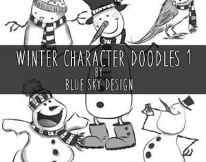 Winter Character Brushes Doodles 1 Photoshop brush