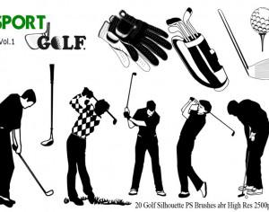 Golf Silhouette PS Brushes abr. vol. 1 Photoshop brush