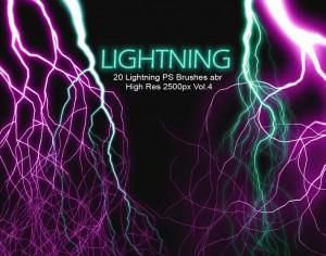 20 Lightning PS Brushes abr vol.4 Photoshop brush