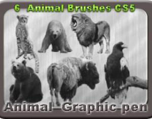6 Animal Graphic Pen Brushes Photoshop brush