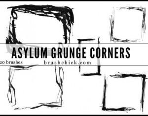Asylum Grunge Corner Brush Pack Photoshop brush