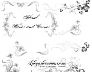 Floral Waves and Curves Photoshop brush