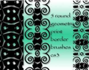 5 round geometry border brushes Photoshop brush