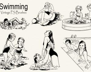 20 Vintage Swimming PS Brushes abr Photoshop brush