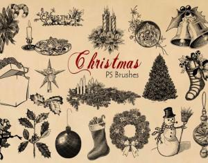 20 Engraved Christmas PS Brushes abr.vol.8 Photoshop brush