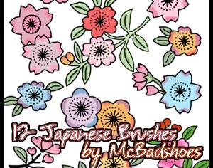 Japanese Flowers Photoshop brush