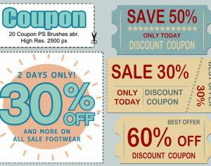 20 Coupon PS Brushes abr. Photoshop brush