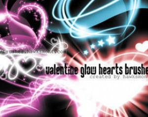 Valentine Glow Hearts Photoshop brush