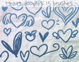 Heart Doodles Brushes 2 Photoshop brush