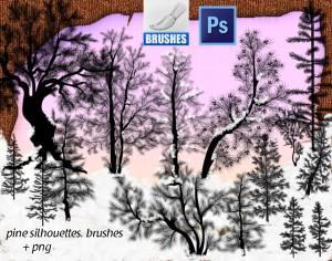 Pine Silhouettes Brushes Photoshop brush