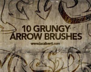Grungy arrow brushes set Photoshop brush
