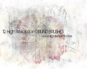 12 High-Resolution Grunge Texture Brushes Photoshop brush
