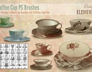 Vintage Coffee Cup Brushes abr Photoshop brush
