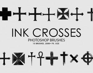 Free Ink Crosses Photoshop Brushes Photoshop brush