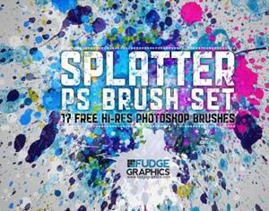 Hi-Res Splatter Brush Set Photoshop brush
