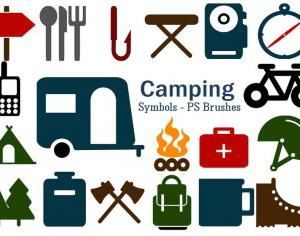 20 Camping Symbol PS Brushes abr. Vol.6 Photoshop brush