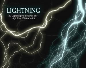 20 Lightning PS Brushes abr vol.3 Photoshop brush