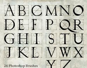 Hand Drawn Durer Alphabet Photoshop brush