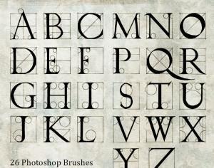 Hand Drawn Durer Alphabet Photoshop brush