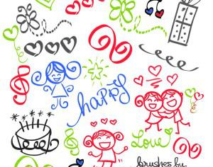 Set of 21 Happy Girly Girl Love Doodles Brush Set Photoshop brush