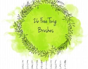 26 Twig Brushes Photoshop brush