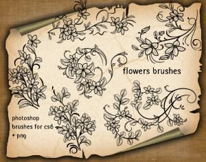 6 Floral Decorative Brushes Photoshop brush