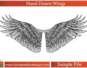 Hand Drawn Wings Photoshop brush