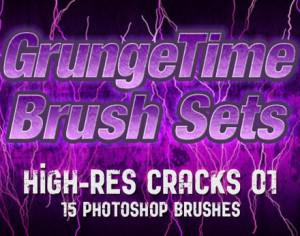 GrungeTime - 15 High-Res Cracks 01 Photoshop brush