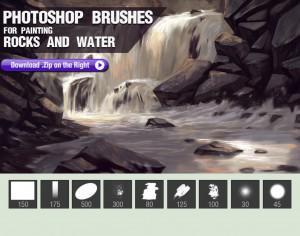 Painting Rocks and Water Brushes Photoshop brush