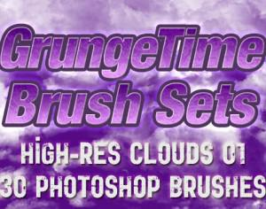 GrungeTime - 30 Hi-Res Cloud Brushes Photoshop brush