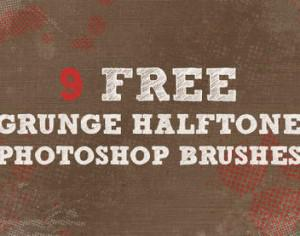 9 Grunge Halftone Brushes Photoshop brush