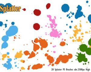 20 Splatter PS Brushes abr.vol.1 Photoshop brush