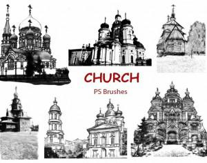 20 Church Sketch  PS Brushes abr. vol.7 Photoshop brush