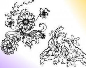 Sketchy Decorative Floral Ornament Brushes Photoshop brush