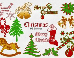20 Christmas Vintage PS Brushes abr. Vol.2 Photoshop brush
