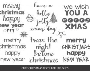 Sketchy Christmas Text Label Brushes Photoshop brush
