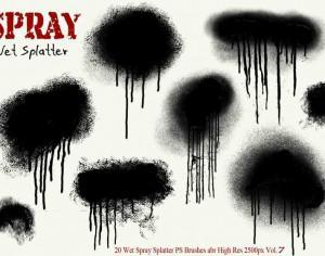 20 Ink Drip Paint Spray Splatter PS Brushes Vol.7 Photoshop brush