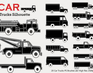 20 Car Truck Silhouette PS Brushes Photoshop brush