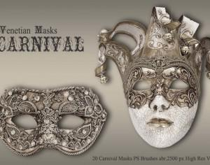 20 Carnival Masks PS Brushes abr.vol.4 Photoshop brush