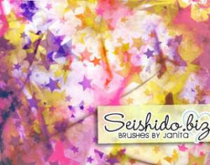 FREE Seishido.biz Grungy Star Paper Brushes  Photoshop brush