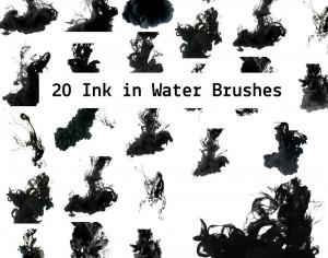 20 Ink in the Water Photoshop brush
