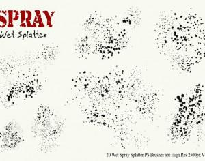20 Wet Spray Splatter PS Brushes Vol.5 Photoshop brush