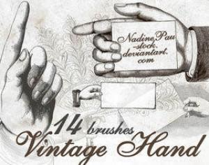 Vintage hands Photoshop brush