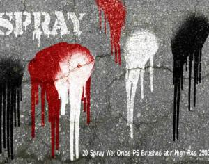 20 Spray Wet Drips PS Brushes Vol.9 Photoshop brush