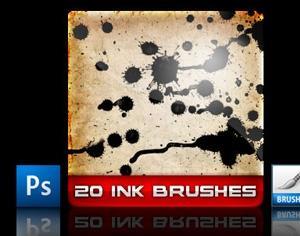 20 Ink Brushes Photoshop brush